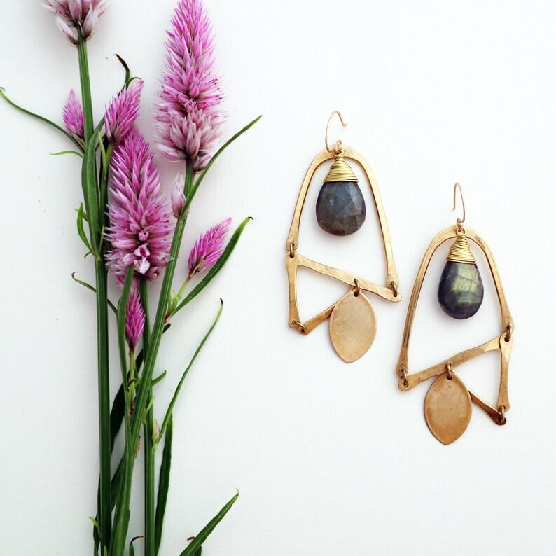 Flower Earrings  Botanical Jewelry  Brass and Labradorite image 0