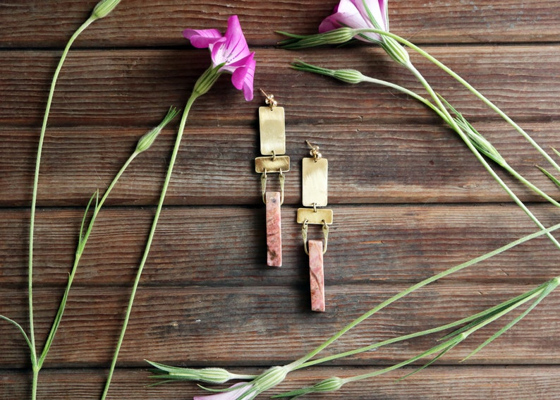 Geography  Rhodonite and Geometric Brass Earrings  Rectangle image 0