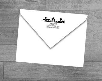 Self Inking Farm Address Stamp Return Address Stamp Self Inking with Barn and Farm