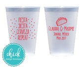 Fiesta Siesta Cerveza Repeat 12 oz Frosted Cup Wedding Favors Fun Wedding Party Gifts Wedding Anniversary Party Gift Custom Beverage D400a