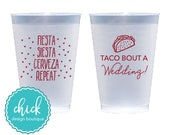Taco Bout a Wedding Fiesta 12 oz Frosted Cup Wedding Favors Fun Wedding Party Gifts Wedding Anniversary Party Gift Custom Beverage D400c