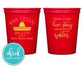 Viva Fiesta with Event Location - 16 oz Cup Wedding Favors Fun Wedding Party Gifts Wedding Anniversary Party Gifts Custom Beverage D406a