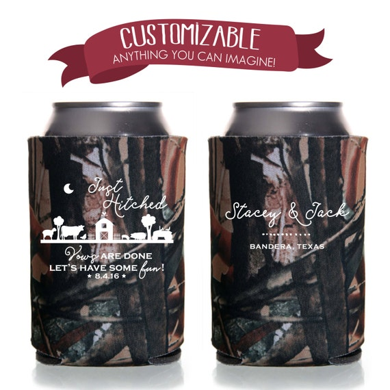 Just Hitched Camo Can Cooler Wedding Favors Fun Wedding Party Etsy