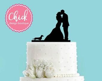 Couple Kissing with Dachshund Dog Acrylic Wedding Cake Topper