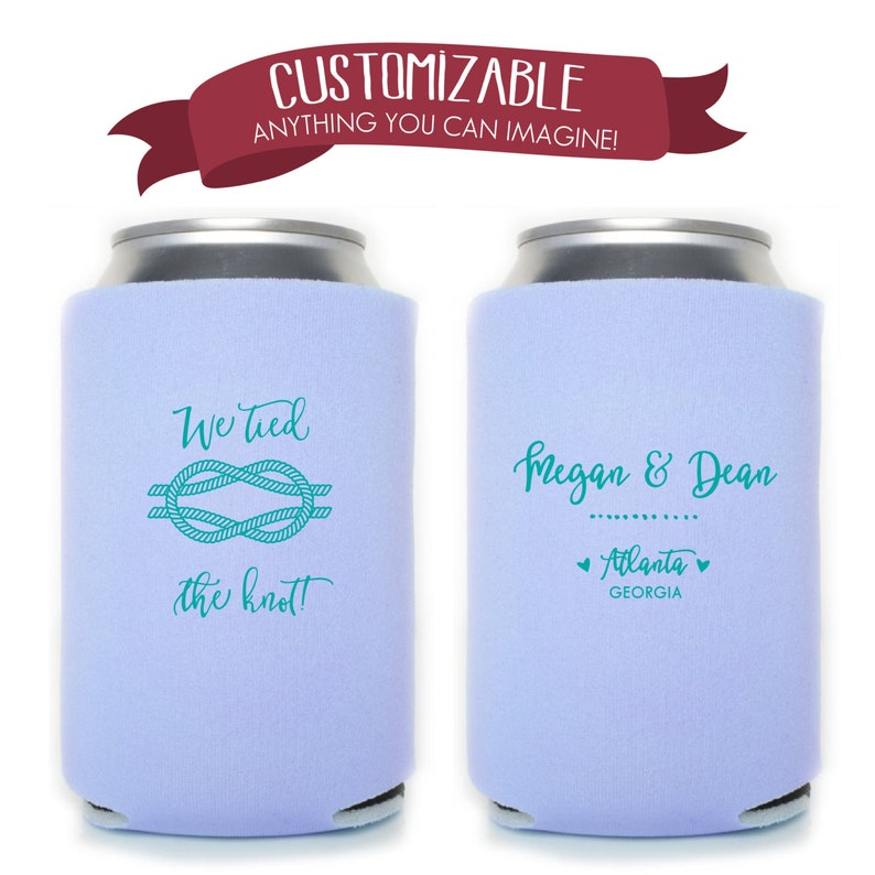 We Tied the Knot Can Cooler Wedding Favors Fun Wedding Party Gifts Wedding Anniversary Party Gifts Custom Beverage Can Cooler 3D17N19