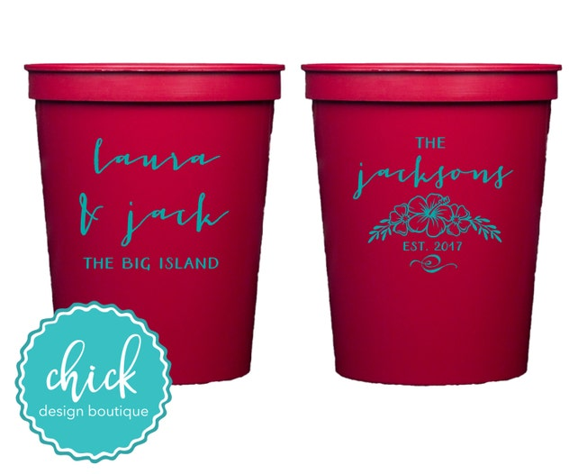Custom Name Hawaiian Flowers 16 Oz Cup Wedding Favors Fun Wedding