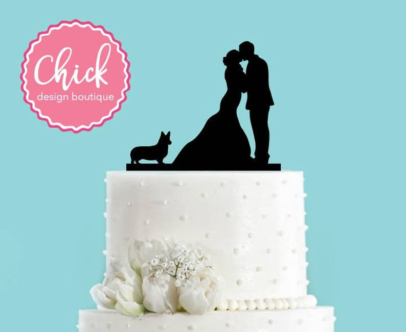 Couple Kissing with Welsh Corgi Dog Acrylic Wedding Cake image 0