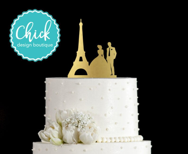 French Wedding Cake.Paris Couple With Eiffel Tower French Wedding Cake Topper Hand Painted In Metallic Paint