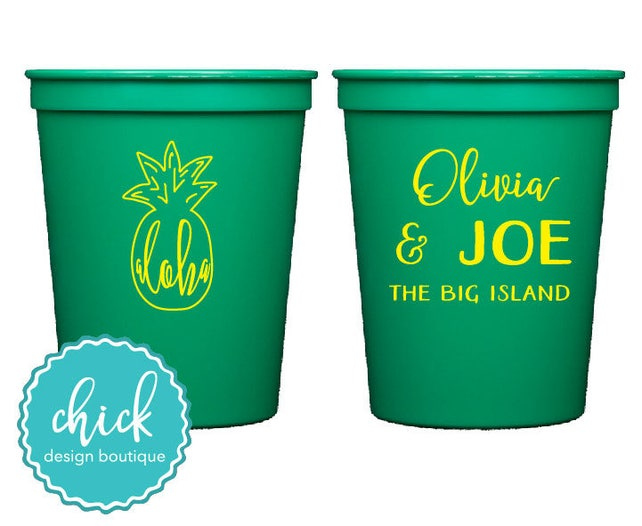 Aloha Hawaii Pineapple 16 Oz Cup Wedding Favors Fun Wedding Party