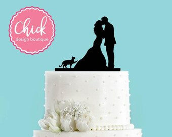 Couple Kissing with Cat Pawing Acrylic Wedding Cake Topper