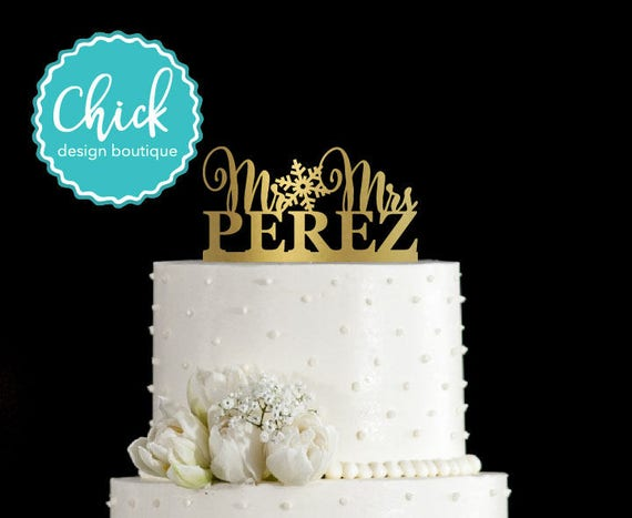 Snowflake Winter Themed Wedding Mr Mrs Personalized Wedding | Etsy