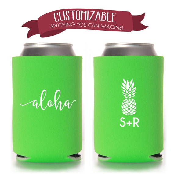 Aloha Hawaiian Themed Can Coolie Wedding Favors Fun Wedding Etsy