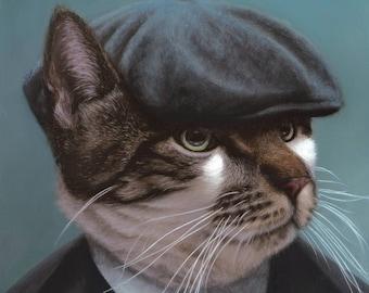 Squeaky Bruiser -  Blank Card of Original Oil Cat Painting by Nancy Cuevas