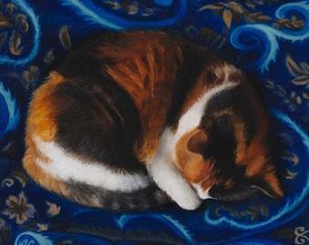 Blue Dreams  -  Blank Card of Original Oil Painting by Nancy Cuevas
