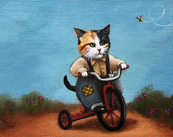 Patches -  Blank Card of Original Oil Cat Painting by Nancy Cuevas