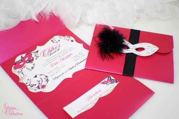 Masquerade Invitation Frame Shape Sweet 16 Quinceanera Etsy