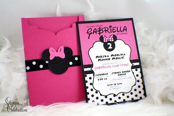 Minnie Mouse Birthday Invitation Glitter Polkadots Girly Cute Girl Invite