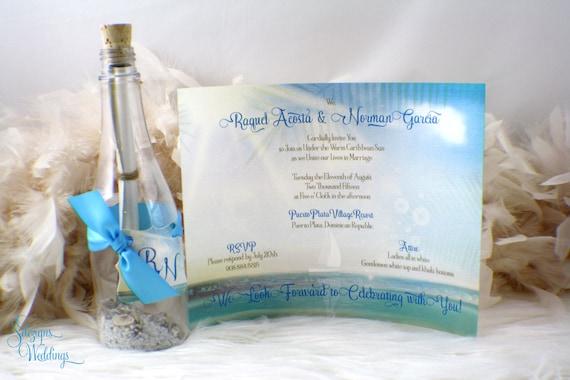 Message In A Bottle Wedding Invitations: Message In A Bottle Beach Wedding Or Sweet Sixteen