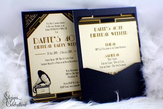 Harlem Nights Birthday Invitations 40th Invitation 50th Speakeasy Invite Art Deco Male Masculine