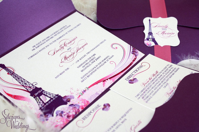 Gorgeous Paris Wedding Invitations Etsy
