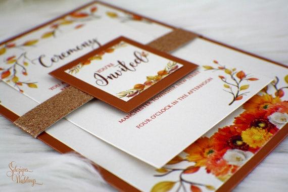 Fall Color Wedding Invitations: Fall Flowers Wedding Invitation Fall Wedding Invitation
