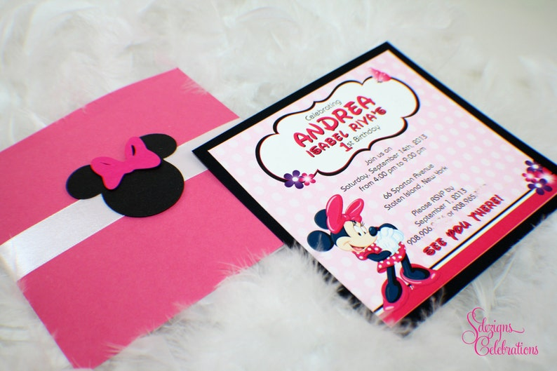 Cute Minnie Mouse Birthday Invitations Pink Black Minnie Mouse Invitations Flowers Minnie Head