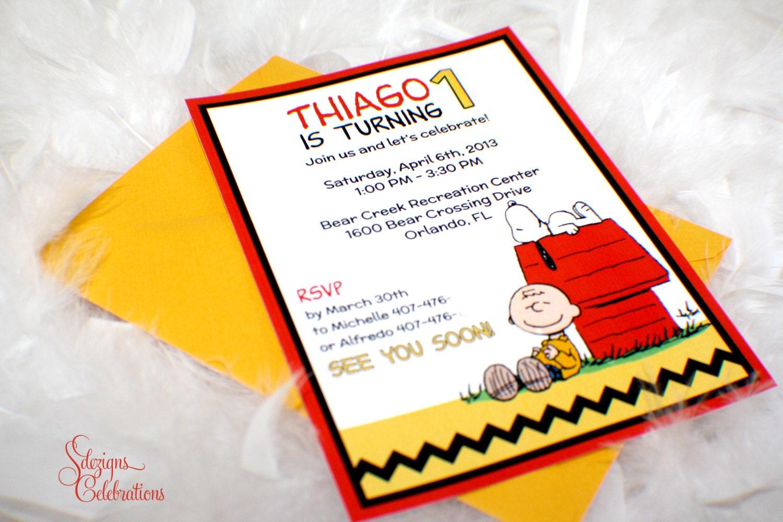 Charlie Brown Snoopy Birthday Invitations Peanuts | Etsy