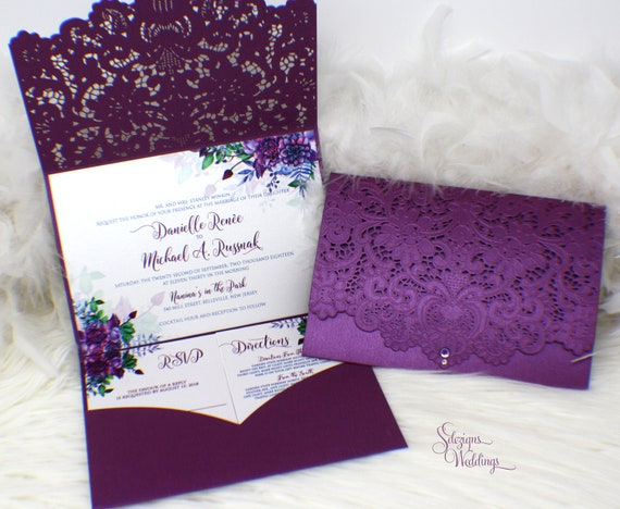 Purple And Blue Wedding Invitations: Spring Flowers Wedding Invitation, Floral Laser Cut