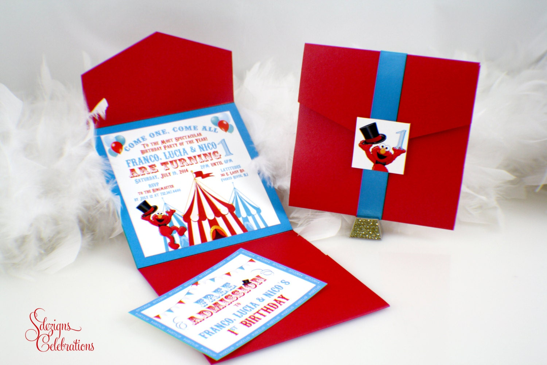 Elmo Birthday Invitation Elmo\'s Circus Birthday | Etsy