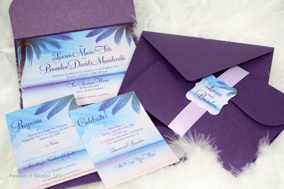 Destination Wedding Invitations Etsy: Tropical Breeze Destination Wedding Invitation Beach