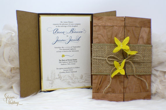 Barn Wedding Invitation Doors Outdoors Burlap Yellow Flower Farm Invite