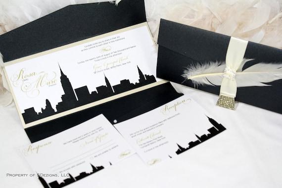 New York City Wedding Invitation Ny Skyline Wedding Invitation Nyc