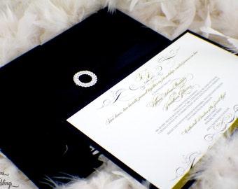 Elegant Hardcover Fabric Folio Wedding Invitation