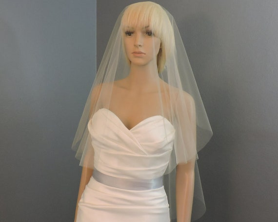 Wedding Veil Double Simplicity Cascade Cut Edge, Bridal Veil, Blusher