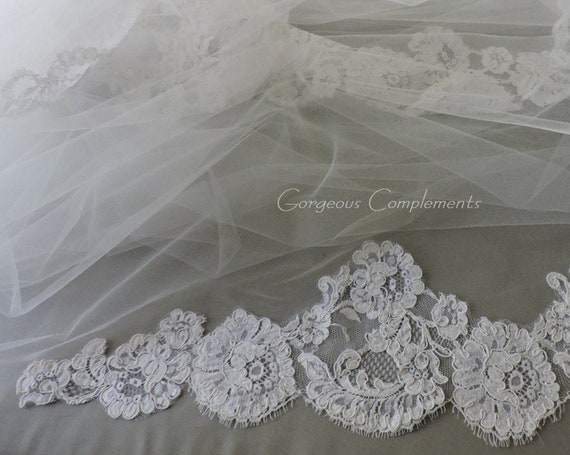 Double Tier Wedding Veil Genuine French Alencon Lace on the Bottom, Mantilla Veil, Bridal Veil