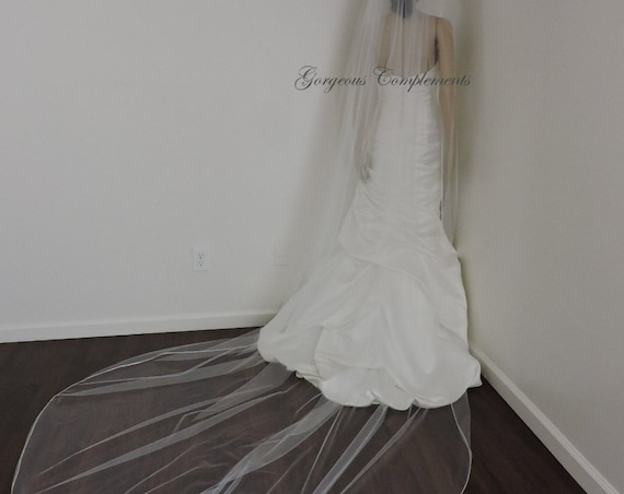 Wedding Veil Single Tier with Soft Satin Rattail Edge Extra Fullness, Bridal Veil