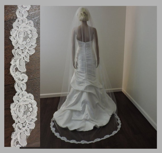 Bridal Veil with 2 inch Lace, Wedding Veil