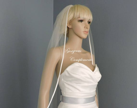 Bias Satin Edge Straight Cut Sheer Width Bridal Veil