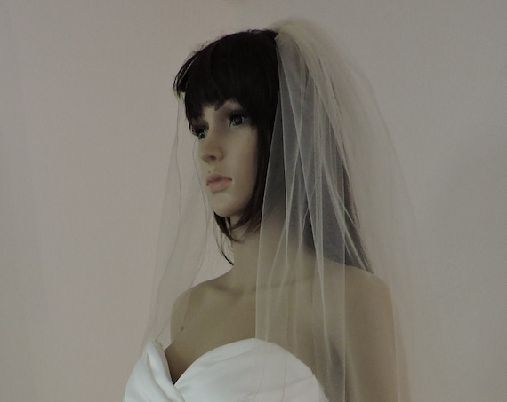 Veil 2 Tier Standard Width and Delicate Pencil Edge