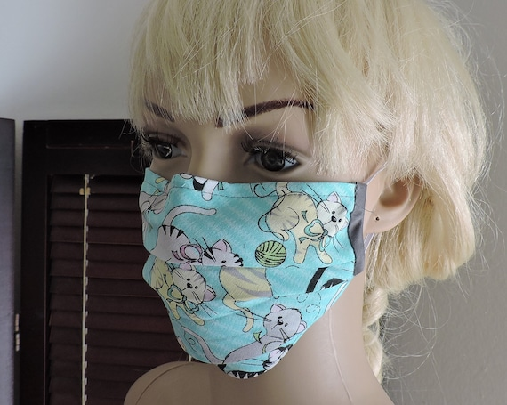 Kitty Cat Breathable Cotton Face Mask/ Reusable Mask / Dust Mask Cover / Washable Face Mask / Adult Mask / Kid Mask/