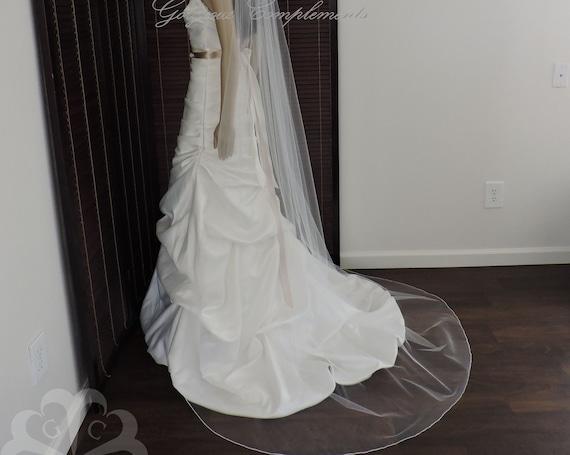Wedding Veil Chapel Length Single Tier Rolled Edge, Bridal Veil  RE90X72