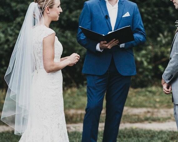1 Tier Cascade Soft Bridal Veil Pencil Edge,