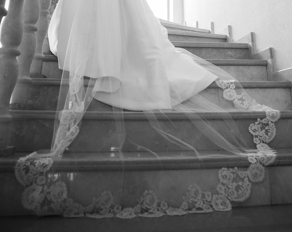 Double Tier Wedding Veil Genuine French Alencon Lace on the Bottom, Mantilla Veil, Bridal Veil