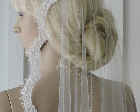 Lovely Mantilla Bridal Veil with Alencon Style Lace Choose Length/Color, Bridal Veil