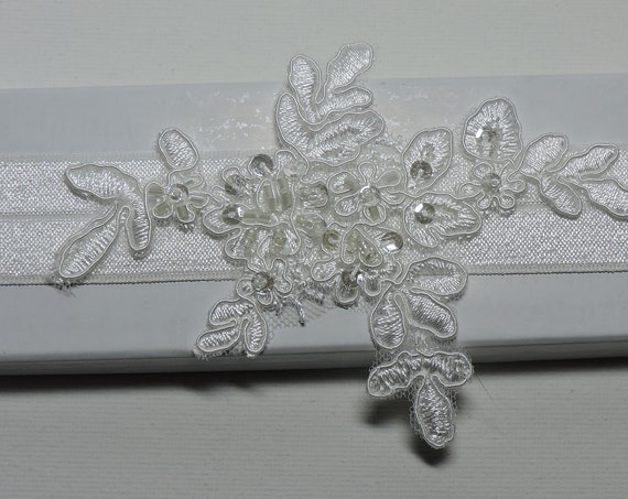 Petite Beaded Lace Wedding Garter