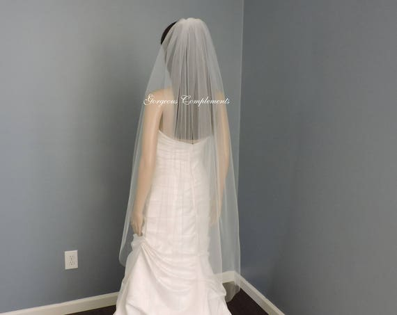 READY MADE Waltz Single Tier Cut Edge Standard Width Bridal Veil