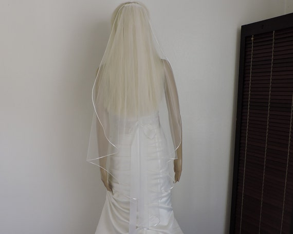 Wedding Veil Cascade Satin Rattail Cord Edge, Bridal Veil C901RE