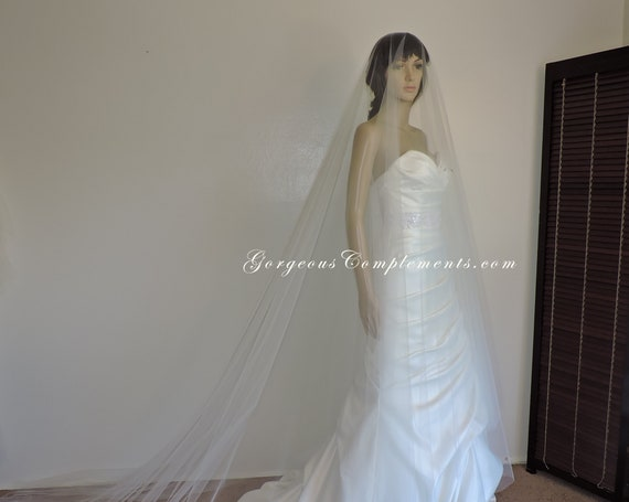 Long Blusher Veil-Drama Veil-Cathedral or Chapel Length Veil