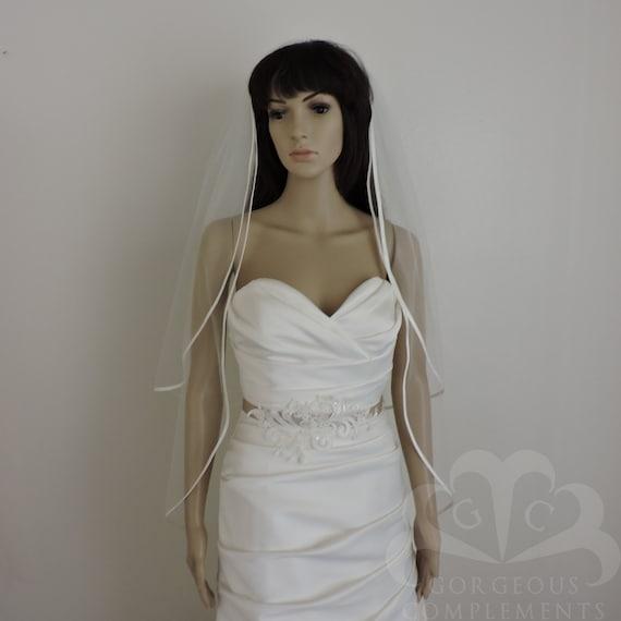 "Double Tier 1/4"" Bias Satin Straight Cut Sheer Bridal Veil"