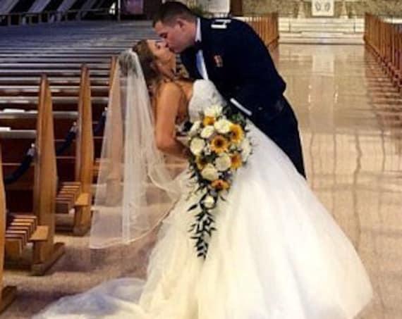Wedding Veil Cascade Satin Rattail Cord Edge, Bridal Veil C90RE